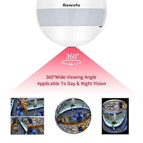 Bawofu 1080P Wifi Wireless IP Bulb Hidden Camera with Fisheye Lens 360 Panoramic for Remote Home Security System,Motion Detection and Two Way Talking for iPhone/Android Phone/iPad
