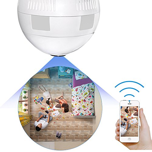 Graneywell Wifi Bulb Camera,Wireless 1080P 360° Fisheye Lens Panoramic Night Vision HD Camera,Spy Motion Detection and Two Way Audio Surveillance Socket Cam for Android IOS APP Remote.