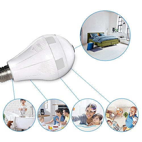 Graneywell Wifi Bulb Camera,Wireless 1080P