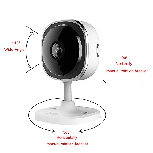 Jasal Smart wifi 1080P HD mini home 180 degree panoramic IP camera, monitoring system for pet, elderly, children, valuables safe for room, shop, office, work on phone,Pad,PC, supporting Cloud