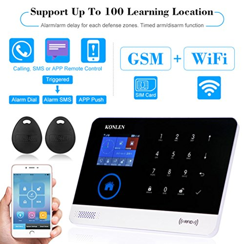 KONLEN Voice LCD WIFI GSM SIM Home Security Alarm System RFID Touch Wireless SMS Call App Alert Android IOS Burglar House Smart DIY Kit with 5 Door 4 PIR Detector