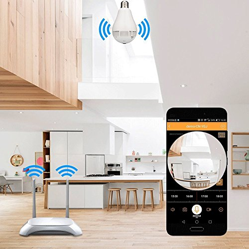 Light Bulb Camera -960P Hidden HD Panoramic Security Wireless IP Surveillance Supports Remote View IR Night Vision Motion Detection by Leocam