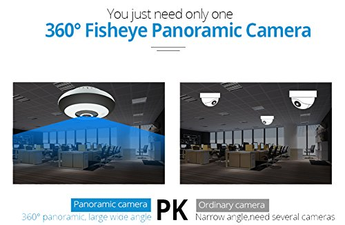 Mbangde 360 Degree Panoramic IP Camera, 960P 3D VR WI-FI Camera, 1.3MP FIsheye Wireless Smart Camera Hand Cruise Motion Detection, with 16GB TF Card