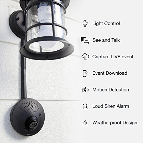 VuPoint TOUCAN Outdoor Security Camera – Powered By Your Existing Light Fixture + Smart Socket + A15 LED Light Bulb, Works With Alexa, 2 Way Talk, Siren Alarm, Free Kuna App