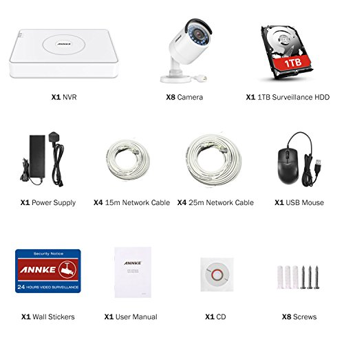 ANNKE 8 Channel 1080p HD Simplified PoE NVR and (8) 1.3MP Outdoor Indoor IP Camera System, IP67 Weatherproof, 100ft Night Vision, Pre-installed 1TB Hard Drive, Remote View & Smart Recording