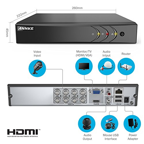 ANNKE Security Camera System 8CH HD-TVI 1080N DVR and (4) HD 720P/1280TVL Indoor/Outdoor Weatherproof Surveillance Cameras, Motion Alert, Smartphone, PC Easy Remote Access - NO HDD