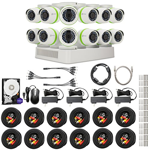 EZVIZ FULL HD 1080p Outdoor Surveillance System, 12 Weatherproof HD Security Cameras, 16 Channel 2TB DVR Storage, 100ft Night Vision, Customizable Motion Detection