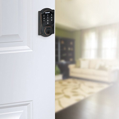 Schlage Z-wave Connect Camelot Touchscreen Deadbolt with Extra Key, Compatible with Alexa via SmartThings, Wink etc., Bright Brass, BE468-605-2KA