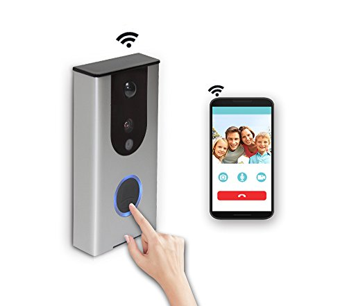 WiFi Smart Enabled Video Doorbell Home Security CCTV Wireless Camera,PIR Motion Sensor Rainproof,6-8 months no need Charge Battery