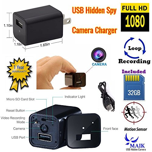 (1Pack-Black) MAIK UBS Hidden Camera Charger | 2in1 Charger & Hidden Camera With Audio | Nanny Cam | Baby & Pet Monitoring Hidden Spy Camera USB | Motion Detection |32GB Included |1080P HD|