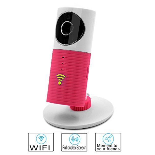 Smart WIFI Camera Besteye Clever Dog Smart Camera with IR Cut Night Vision Max Support 32GB TF Card Wireless Surveillance WIFI Camera or Desk Network Camera-Pink IP camera