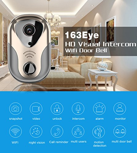 Trumpray video doorbell camera wifi smart wireess,360º fisheye panorama,IR night vision,2-way audio ,HD video,motion sensor detect, plug in power