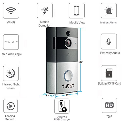 Wifi Wireless Video Doorbell with Built-in 8G 720P HD Smart Doorbell with Video Door Bell Monitor with Chime, Night Vision, PIR Motion Detection Alerts, Two-Way Talk and Video for IOS /Android