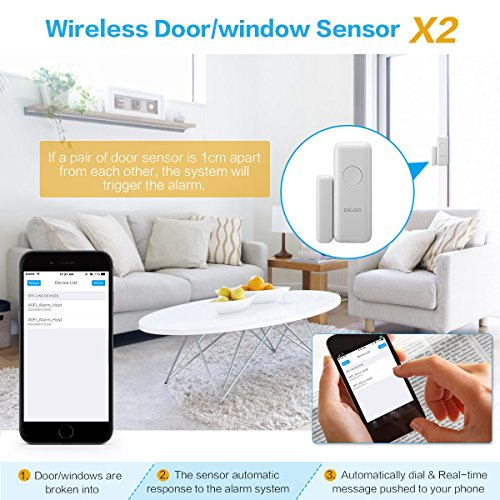 DIGOO Wireless 2G Home and Business Security Alarm System, With Auto Dial and APP Control Function, Come with PIR Detector, Door Window Sensor, and Remote Controller(Model:DG-HOSA)