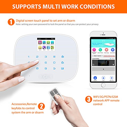 KERUI Wireless Home/House Business Security Alarm System,3G WIFI PSTN Auto Dial APP Remote Control Smart Burglar Alert DIY Kit ,W193 come with Door Contact Sensor and PIR Motion Sensor
