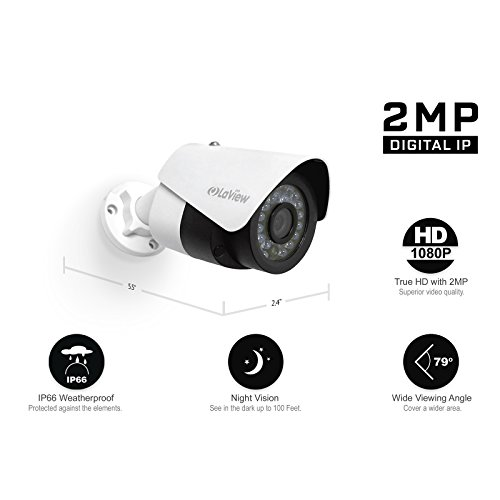 LaView IP 1080P HD Built-in PoE 4 Cameras 4 Channel NVR Security Camera System with 1TB, 2 of 2MP Bullet and 2 of 2MP Dome