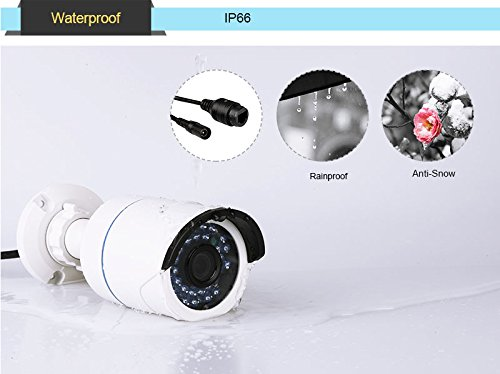Techage Full HD 1080P POE CCTV Security Camera System 4CH NVR 2400TVL 2.0mp IP Camera Outdoor/Indoor Waterproof Night Vision Security Surveillance Kit, Smartphone View
