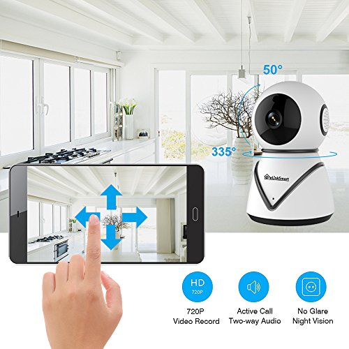 eLinkSmart WiFi Camera Kit Home Security Pan Tilt Camera System with 2 Pack Door/Window Sensors and PIR Detector Wireless Doorbell Night Vision Two Way Audio
