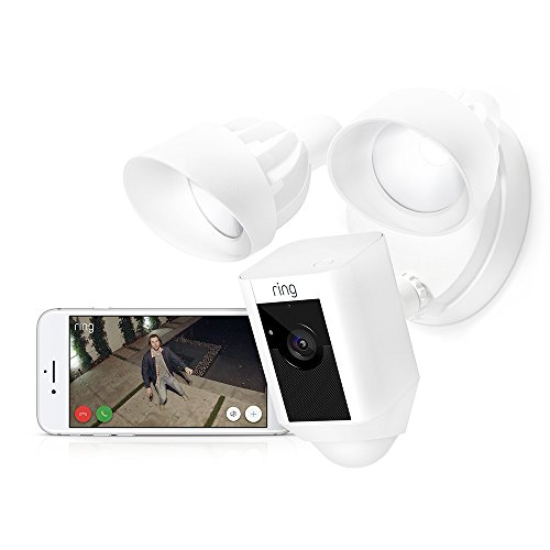 Ring Floodlight Camera Motion-Activated HD Security Cam Two-Way Talk and Siren Alarm, White, Works with Alexa