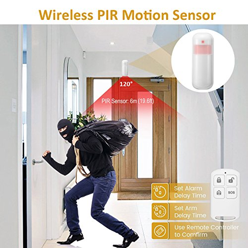 Wireless Home Security Alarm System with 720P IP Camera Complete Smart WiFi DIY Kit, Motion Detection, Door/Window Contact Sensor, Remote and Smartphone Controlled, Easy APP