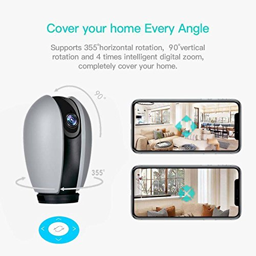 Wireless Smart Home Security Camera WiFi IP Camera 720P HD Indoor Security Surveillance Camera with Night Vision 2-Way Audio for Baby Elder Pet Monitor with iOS Android Cloud Service Available Grey