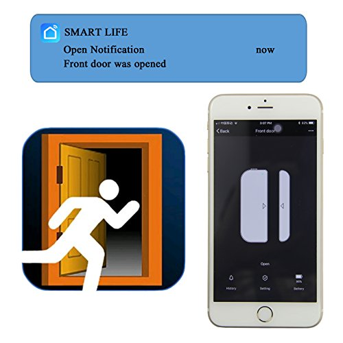 AI-cluster WiFi Door and Windows Sensor Magnets Smart Phone APP Control Doorbell Compatible with Alexa Google Assistant IFTTT,Wireless Security Alarm Door Open Chime for Home Bussiness Burglar Alert