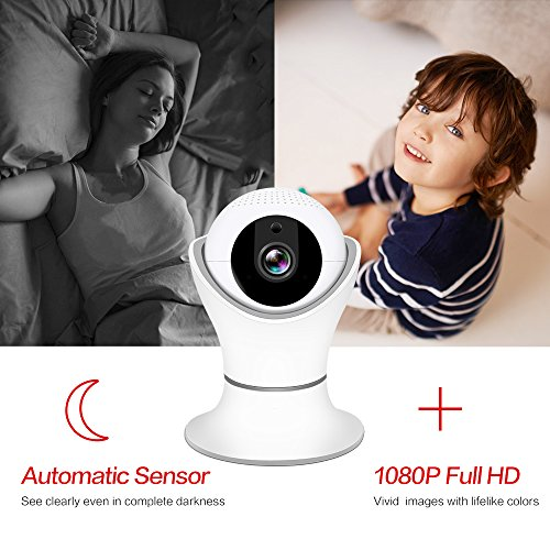 HD 1080P Wireless IP Camera, WiFi Home Security Surveillance IP Camera with 3D Navigation Panorama for Elder/Pet/Office/Baby Monitor, Nanny Cam with PTZ Two Way Audio Motion Detection Night Vision