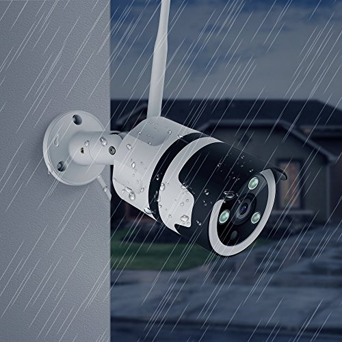 Netvue Vigil 1080p Bullet Camera, Compatible with Alexa Weatherproof Outdoor Home Security Wi-Fi Enabled Camera, White