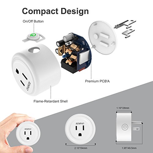 RENPHO Smart Plug, Mini Wireless Smart Socket Wifi Outlet Compatible with Alexa/Google Home, Remote Control Timing On Off Switch (4Pack)