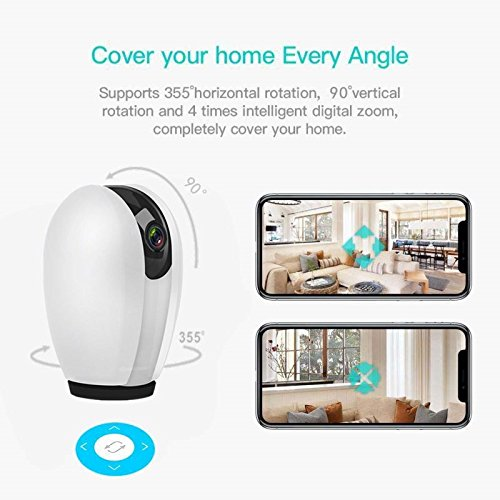 Wireless Smart Home Security Camera WiFi IP Camera 1080P HD Indoor Security Surveillance Camera with Night Vision 2-Way Audio for Baby Elder Pet Monitor with iOS Android Cloud Service Available White