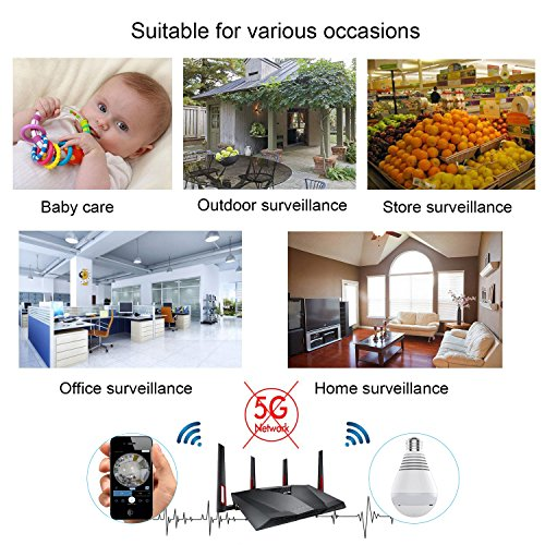 1080P WiFi Secuity Bulb Camera,HD Wireless IP Camera Night Vision VR Panoramic with Motion Detection for Android iOS APP 360 Degree Fisheye Home Surveillance System Remote View (White)