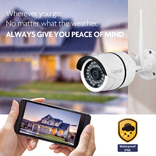 Faleemi Outdoor/Indoor WiFi HD Security Camera, Waterproof Surveillance IP Camera, Bullet Camera for Your Smartphone with Motion Detection, Night Vision