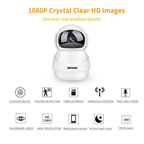 (Pro) Home Wireless IP Camera Haichendz 1080P HD WiFi Indoor Security Surveillance System Pan/Tilt Two-Way Audio & Night Vision Baby/Elder/Pet/Nanny Monitor … (White) (White No Card)