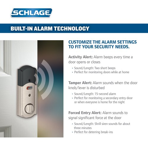 Schlage Connect Camelot Touchscreen Deadbolt with Built-In Alarm and Handleset Grip with Accent Lever, Satin Nickel, FE469NX ACC 619 CAM LH, Works with Alexa