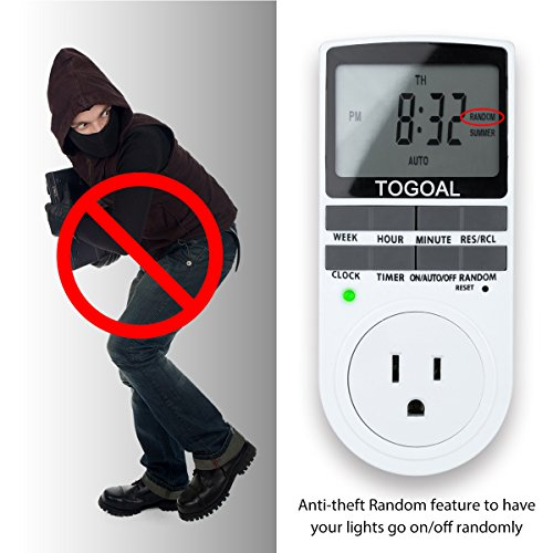 TOGOAL TE02 Digital Light Timer Plug, 7-day Programmable Plug-in Electrical Switch with Anti-theft Random Option (15A, 1800W)