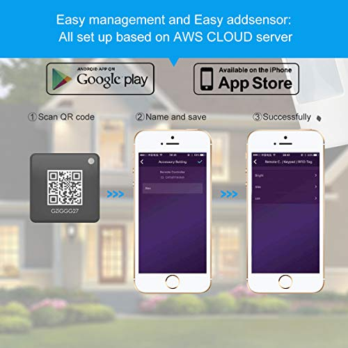 Wifi Alarm system, Wireless LAN+Wi-Fi+GSM Cellular Smart/BusHomeiness Security Alarm DIY Kits, Alarm Host, Infrared Motion/Door&Window Sensor, Remote Controller, Alert with iOS&Android App, AK01-W