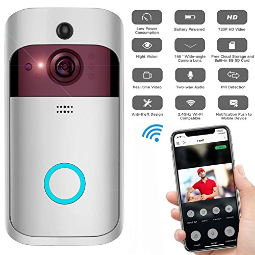 Wifi Video Doorbell, NOKONO Smart Wireless Doorbell with Chime Alarm 720P HD Security Camera Door Bell Ring with PIR Motion Detection and APP Control on IOS and Android