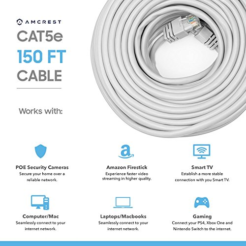 Amcrest Cat5e Cable 150ft Ethernet Cable Internet High Speed Network Cable for POE Security Cameras, Smart TV, PS4, Xbox One, Nintendo Switch, Laptop, Computer, Home (CAT5ECABLE150)