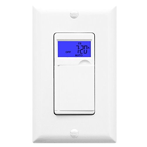 Enerlites HET01 7 Days Digital In-Wall Programmable Timer Switch for Lights, fans, and Motors, Single Pole, Neutral Wire Required, 7-Day 18 ON/OFF Timer Settings, With Blue Backlight, White