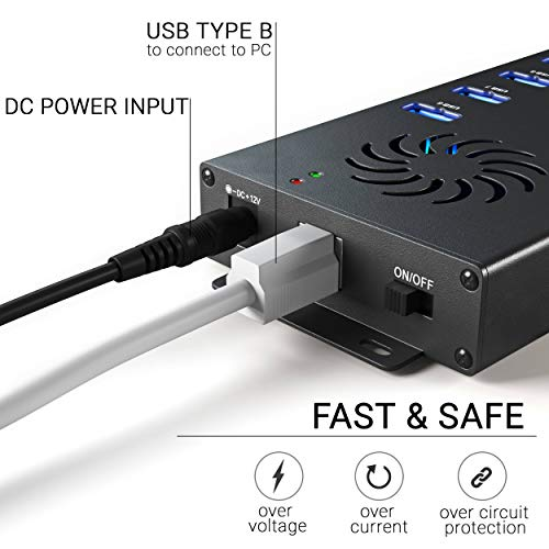 USB 2.0 hub 60W and 120W with 10 Ports (120W (12V/10A))