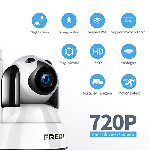 FREDI Baby Monitor Wireless 720P Security Camera, WiFi Home Surveillance IP Camera for Baby/Elder/Pet/Nanny Monitor, Pan/Tilt, Two-Way Audio & Night Vision(Update Version)