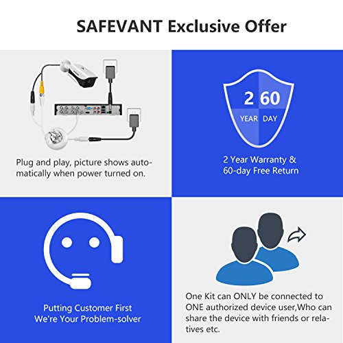 【2019 New】 Home Security Camera System,Safevant 8CH 5-in-1 HD DVR Security Camera System (1TB Hard Drive),4pcs 1080P Indoor&Outdoor Security Cameras -DIY Kit, App for Smartphone Remote Monitoring