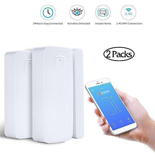 LAIKEUP WiFi Window/Door Sensor, Remote Wireless Smart Security Alarm Magnetic Contact Sensor with Smart Life APP for Home Office Shop Burglar Alert System, Compatible with Goggle Home/Alexa/IFTTT
