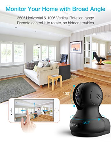 Lefun 1080P Wireless Security Indoor IP Camera Home Surveillance Nanny Cam Baby Elder Pet Monitor Built-in Motion Detection Night Vision 2 Way Audio Function Supports 2.4G WiFi