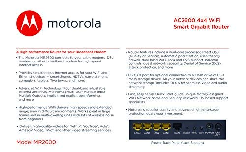 MOTOROLA AC2600 4×4 WiFi Smart