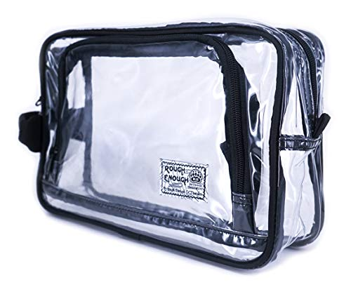 Rough Enough TSA Approved Gym Toiletry Bag Clear Makeup Case Transparent Cosmetic Organizer Bathroom Travel Accessories Storage Pouch with Handle Zipper for Sport Men Women Student Outdoor Trip Hotel