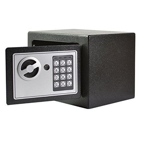 Ainfox Safes and Lock Boxes, 0.2 Cubic Feet Smart Electronic Digital Security Safe Box Keypad Lock with Number Keys Emergency Lock (Mini 17EF)