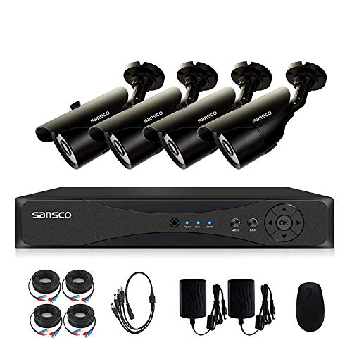 SANSCO Home Security Camera System with 4-Channel 1080P Smart DVR and 4 Bullet Cameras (Super HD 1080p 2MP) Smart Surveillance Cameras Kit, No HDD Included