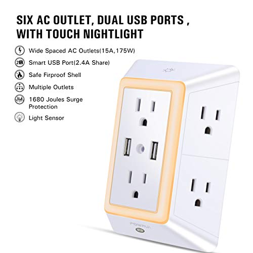 USB Wall Charger, Surge Protector, POWRUI 6-Outlet Extender with 2 USB Charging Ports (2.4A Total) and Night Light, 3-Sided Power Strip with Adapter Spaced Outlets - White,ETL Certified