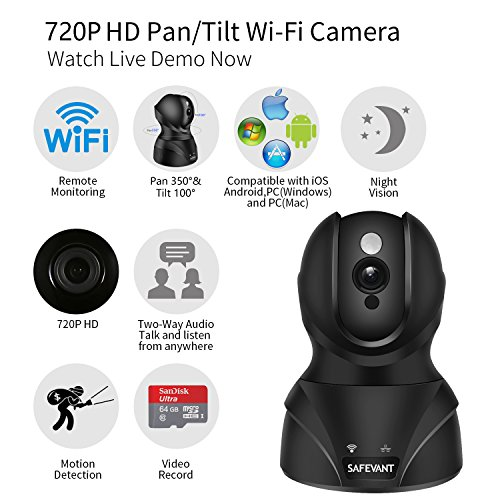 Wireless Security Camera, SAFEVANT HD WiFi IP Camera Surveillance Camera with Two Way Audio Night Vision for Pet Monitor, Nanny Camera, Baby Monitor and Puppy Cam